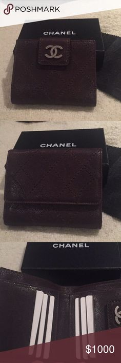 Chanel Bifold Wallet Authentic dark brown diamond stitching billfold Wallet with Coinpurse. Dark brown caviar leather, CC Logo in pewter hardware. Has 6 card pocket 2 pocket made in Italy. Brand new bought in 2006 from Saks 5th Avenue with cloth & box CHANEL Accessories