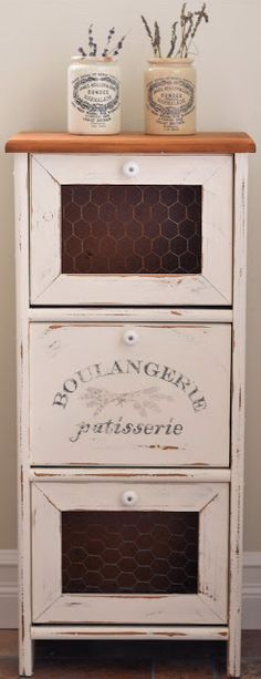 Shabby Love: Frenchy Cabinet Redo - I want to do this on my potato bin!