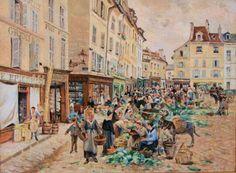 (Ludovic PIETTE - Le marché place du Grand Martroy, 1876)