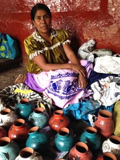 This is a favorite photo of mine--Great Master of Mexican Folk Art, Bernardina Rivera of Huancito, Michoacán. I bought about two dozen of her pots that day! Some are on our website: www.mexicobyhand.com