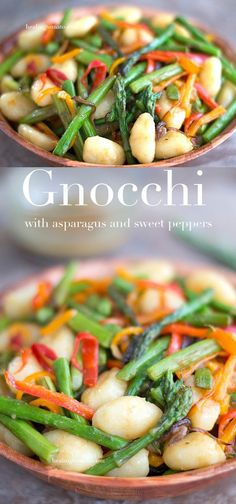 Gnocchi Pasta With Asparagus And Sweet Peppers Gnocchi brown buttered in vegan butter + fresh rosemary. Mix with a dirty vinaigrette. Best 30 minute meal ever! Pasta Recipes, Dinner Recipes, Cooking Recipes, Cocktail Recipes, Gnocchi Pasta, Fettucine Alfredo, Vegetarian Recipes, Healthy Recipes, Vegan Vegetarian