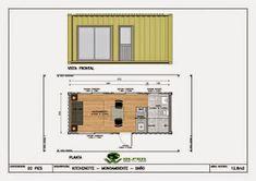 Mi Casa en un Container o Contenedor Maritimo: otros planos y diseños Container Home Designs, 40ft Container, Container Shop, Tiny House Layout, Tiny House Cabin, Tiny House Design, House Layouts, Building A Container Home, Container Buildings