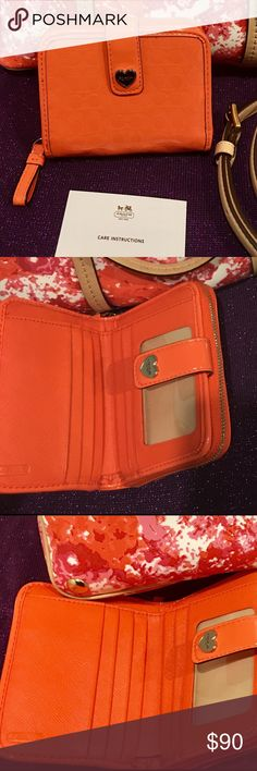 """COACH! RARE! LIQUID PATENT LEATHER Orange WALLET 100% Authentic Coach Perforated Embossed Liquid Gloss Med Zip Around Wallet F51678  Silver Coach logo on front  Buckle closure  ID window, 6 Credit card slots, 1 Large bill slot, Zip coin pocket  4.75"""" W x 3.75"""" H x 1"""" D *** listing is for wallet only** Coach Bags Wallets"""