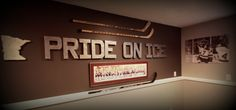 $2 Cardboard Letters Spray Painted with Rustoleum Pewter Spray Paint / Minnesota Gopher Hockey Room Decor Hockey Room Decor, Hockey Bedroom, Man Cave Basement, Basement Family Rooms, Hockey Mom, Hockey Man Cave, Ultimate Man Cave, Man Room, Hockey Boards