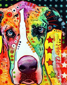 Great Dane Painting by Dean Russo - Great Dane Fine Art Prints and Posters for Sale Illustration Photo, Illustrations, Art Pop, Great Dane Dogs, Fun Dog, Art Anime, Inspiration Art, Dog Paintings, Pet Portraits