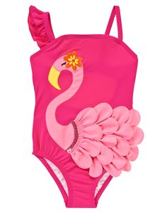 Our swimsuit features a flamingo appliqué with flouncy feathers and sequins for extra fun in the sun. WARNING: CHOKING HAZARD - Small parts. Not for children under 3 yrs.