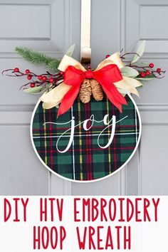 This embroidery hoop christmas wreath is a super easy Christmas DIY craft for Silhouette and Cricut users. It's a festive Christmas decor project. Christmas Garden, Outdoor Christmas, Simple Christmas, Christmas Projects, Beautiful Christmas, Handmade Christmas, Holiday Crafts, Christmas Crafts To Make, Christmas Cactus