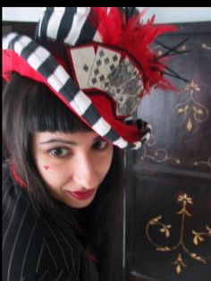 Royal Flush playing cards steampunkTop Hat by Retro G Couture Dandy dolly kei gothic Lolita Alternative Magician Victorian Lady Circus Ringmaster carnivalesque  Burlesque Dancer  Edwardian Conjurer Rockstar women's style fashion