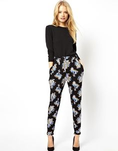 ASOS Peg Trousers In Ditsy Pink Floral Print