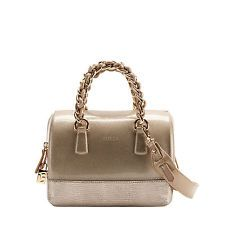 """- colour: sand-beige, oro antik-gold - tone-on-tone stitching - tone-on-tone external ribs - light yellow gold galvanic gilding - padlock with Furla logo - carried in the hand - zip closure - drop: 8 cm - 3"""" $399,00"""