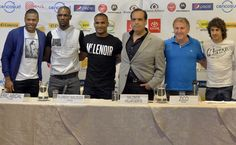 (L-R) Brazilian soccer star Julio Baptista, French soccer stars Eric Abidal and Florent Malouda ,Peruvian producer Salomon Villafuerte, former Brazilian soccer star Zico and Argentinean soccer star Pablo Aimar pose for a picture during a press conference on July 1, 2013 in Lima, Peru, on the eve of the exhibition game between Argentine Lionel Messi and friends' team and Brazilian idol Neymar's team.