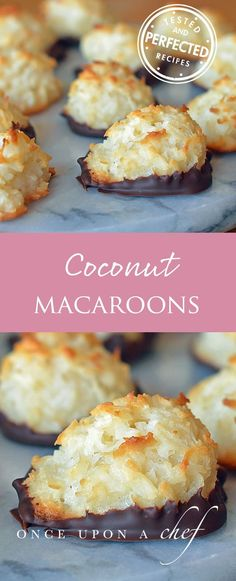 Are you a coconut lover? Or do you eat gluten-free? These are my favorite macaroons. Chewy and moist on the inside, crispy and golden on the outside, they are delicious plain but even more irresistible dipped in chocolate. They also keep well for days, wh Baking Recipes, Cookie Recipes, Dessert Recipes, Frosting Recipes, Just Desserts, Delicious Desserts, Yummy Food, Bolacha Cookies, Kolaci I Torte