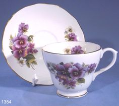 tea cups and saucers   Duchess Violets Vintage Bone China Tea Cup and Saucer
