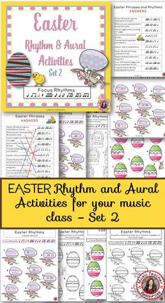 Music Worksheets |  EASTER Rhythm and Aural Activities: SET 2. Easter fun for your music class.  ♫ CLICK through to read more or save for later!  ♫  This is a 20 page PDF file of rhythm and aural activities with an EASTER theme.