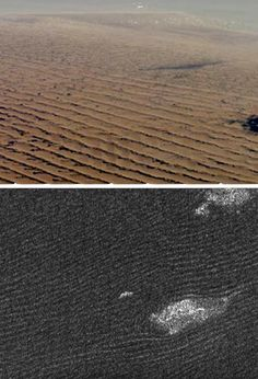 "Cassini radar sees sand dunes in Belet on Saturn's giant moon Titan (lower photo) that are sculpted like Namibian sand dunes on Earth (upper photo). The bright features in the lower radar photo are not clouds but topographic features among the dunes. (Credit: NASA/JSC - uppper photo; NASA/JPL - lower photo) Mona Evans, ""Titan - Planet-sized Moon of Saturn"" http://www.bellaonline.com/articles/art182860.asp"