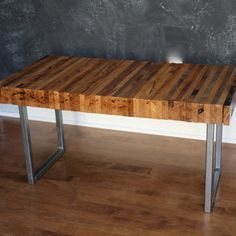 3 FOOT BENCH, Reclaimed Oak with Square Tube Steel Legs That Were Previously Jail Bars