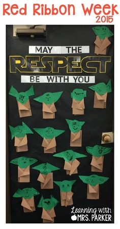 Star Wars Inspired Bulletin Board - Learning With Mrs. Parker Informations About Star Wars Inspired Respect Bulletin Boards, Classroom Bulletin Boards, Classroom Displays, Classroom Themes, Disney Classroom, Preschool Bulletin, Space Bulletin Boards, Classroom Door, Classroom Organization