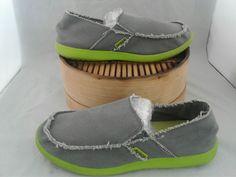 f4c80ebd11be8b Crocs Canvas Santa Cruz Gray-Green Trim Slip On Loafer Shoes Men s Size 12