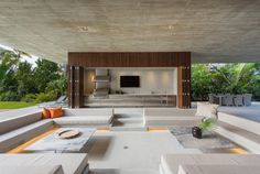 Marcio Kogan of Studio designed this modern home in Miami Beach Florida with a heated saltwater pool a swimmable lagoon and a bridge Residential Architecture, Modern Architecture, Sustainable Architecture, Luxury Apartments, Luxury Homes, Miami Beach House, Terrasse Design, Sunken Living Room, Modern Pools