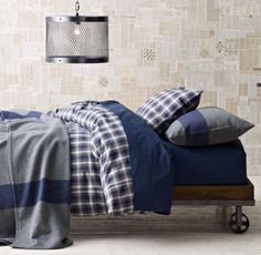 RH baby&child's Washed Classic Plaid Bedding Collection:Washed for superior softness, our ruggedly handsome yarn-dyed bedding collection re-creates both the classic look and cozy feel of a well-loved (and well-worn) shirt.