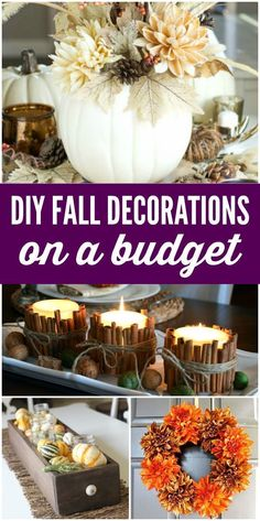 Cheap DIY Fall Decorations on a Budget! White Pumpkins, Gold Pumpkins, Candy Cor… – Do It Yourself Diy Home Decor Rustic, Diy Home Decor On A Budget, Diy Home Decor Projects, Fall Home Decor, Decorating On A Budget, Decor Ideas, Holiday Decorating, Country Fall Decor, Decorating Pumpkins