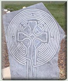 Great finger labyrinth with celtic cross design in the centre