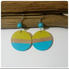 Check out this item in my Etsy shop https://www.etsy.com/listing/190234943/wood-dangle-earrings-striped-kiwi-cool