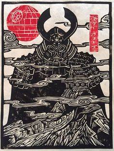 ARTIST: Woodcut Emporium aka Brian Reedy (US) | via: #Yellowmenace | ● Buy Star Wars Art Prints & More @ https://society6.com/yellowmenace/collection/art-from-a-galaxy-far-far-away?curator=yellowmenace | #StarWars #AsianInspired #popart #fanart #samurai #DarthVader