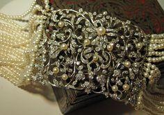 The Antique Guild, antique jewelry, bride, bridal, wedding day, choker, necklace, pearls, plaque, dog coller, collier de chien, plaque de cou, Edwardian, Belle Epoque