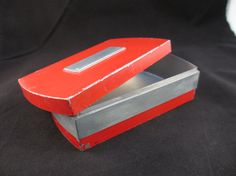 Red Metal Cigarette Box Vintatge 40s Hickock by LeapingFrogDesigns, $12.95