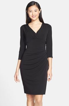 Free shipping and returns on Maggy London Jersey Ruched Sheath Dress at Nordstrom.com. Gathers frame the surplice neckline and trace one side of the waistline of this stretch-jersey sheath dress. It's that gathered dimension that drapes and conceals where most needed, making this a reliably flattering design.