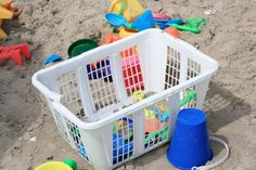 great way to store beach and sand toys; just rinse the whole basket with water when you get home
