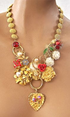 Etsy necklace...but really pretty and inventive use of old jewelry