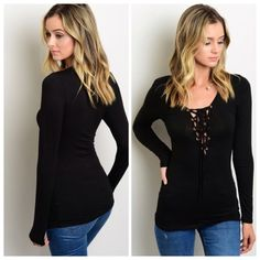 Lace up top This black long sleeve layering tee features lace-up detailing on the neckline. If you are unsure of what size to order,  just ask and I can provide measurements!! Material: 95% Rayon, 5% Spandex NO TRADES ✔️Reasonable offers considered. Tops Tees - Long Sleeve