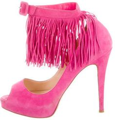 Christian Louboutin Fringe Peep-Toe Pumps- 7112style.website -