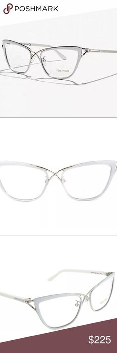 """Brand New TF5272 025 White Eyeglasses FT5272 53-17 Authentic""""Tom Ford"""" Eyeglasses  Brand New TF 5272 025 White Eyeglasses FT5272 53-17 Brand: Tom Ford Model # TF 5272 Color Code: 025 Frame Color: White Lens Color: Clear, ready for your RX prescription MADE IN ITALY  COMES WITH ORIGINAL TOM FORD CASE AND CLOTH  Please use the Measurements & Fit chart below to see if these glasses will fit. 1: Lens width - 53 mm 2: Bridge - 17 mm 3: Temple length -135 mm Tom Ford Accessories Glasses"""