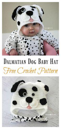 t Cute Dalmatian Dog Baby Hat Free Crochet Pattern #babycrochet #freepattern #hat