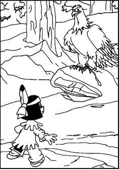 Yakari and His Totem Great Eagle coloring picture for kids