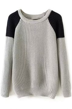 color-block knit sweater // click image
