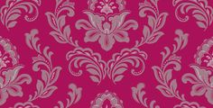 Powder Room - Bijoux Hot Pink (615802) - Arthouse Wallpapers - A stunning and bold floral damask design with glitter motif shown on a hot pink background with black and silver detail. Other colour ways available. Please request a sample for true colour match.