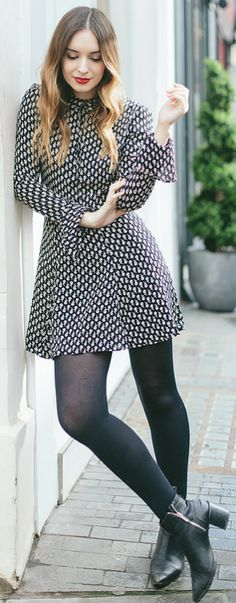 Gorgeous retro style + shirt dress + perfect choice + fun and feminine spring style + tights and ankle boots + Olivia Purvis Dress: Reformation, Boots: Zara, Bag: Lulu Guinness.