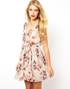 ASOS Skater In Floral Print With Ruffle Wrap £38. Might be a bit short..