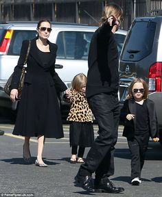 Brad and Angelina spent their Valentine's Day visiting the Natural History Museum in Los Angeles with Knox and Vivienne