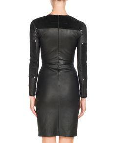 Шипованная Кожа с длинными рукавами платье, черный