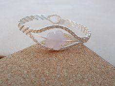 Rose quartz wire work bracelet  Wire by KTGemstoneCreations