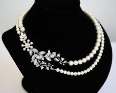 Bridal Pearl Necklace Vine Leaf Necklace, swarovski Rhinestone statement Necklace Wedding Jewelry NEVE. $135.00, via Etsy.