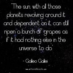 The sun, with all those planets revolving around it, can still ripen a bunch of grapes as if it had nothing else in the universe to do - Galileo Galilei #starquote