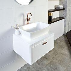 New Bathroom Vanity Unit White 44 Ideas Counter Top Sink Bathroom, Bathroom Vanity Units, Best Bathroom Vanities, Wall Hung Vanity, Bathroom Cabinets, Diy Bathroom Remodel, Bathroom Wall Decor, Bathroom Flooring, Bathroom Furniture