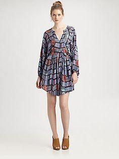 See by Chloe Butterfly-Sleeve Silk Dress