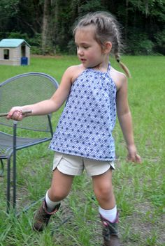 Lisette lawn and the free Ruffle Halter pattern (made ruffle-less) from Oliver + S.